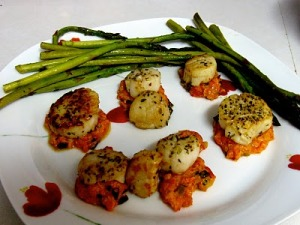 Seared Scallops with Greek Roasted Red Pepper Sauce