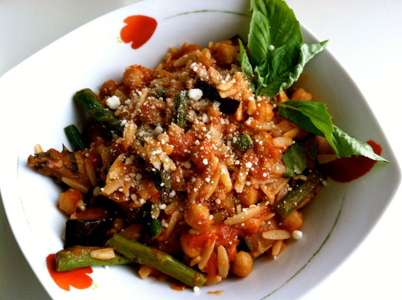 Orzo with Roasted Asparagus, Chickpeas and Eggplant in Smokey Arrabbiata SauceOrzo with Roasted Asparagus, Chickpeas and Eggplant in Smokey Arrabbiata Sauce