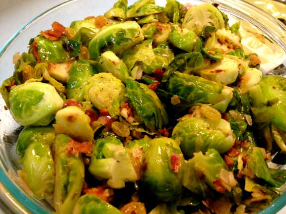 Brussel Sprouts with Bacon and Raisins
